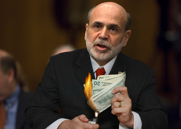 Bernanke burning money