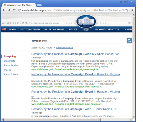 White House Campaign Events